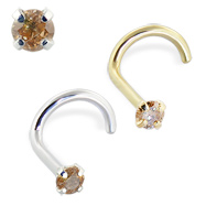 14K Gold Nose Screw with Champagne Diamond, 20 Ga